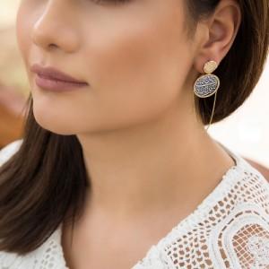 گوشواره طلا زنانه با سکه نقره کد XE263