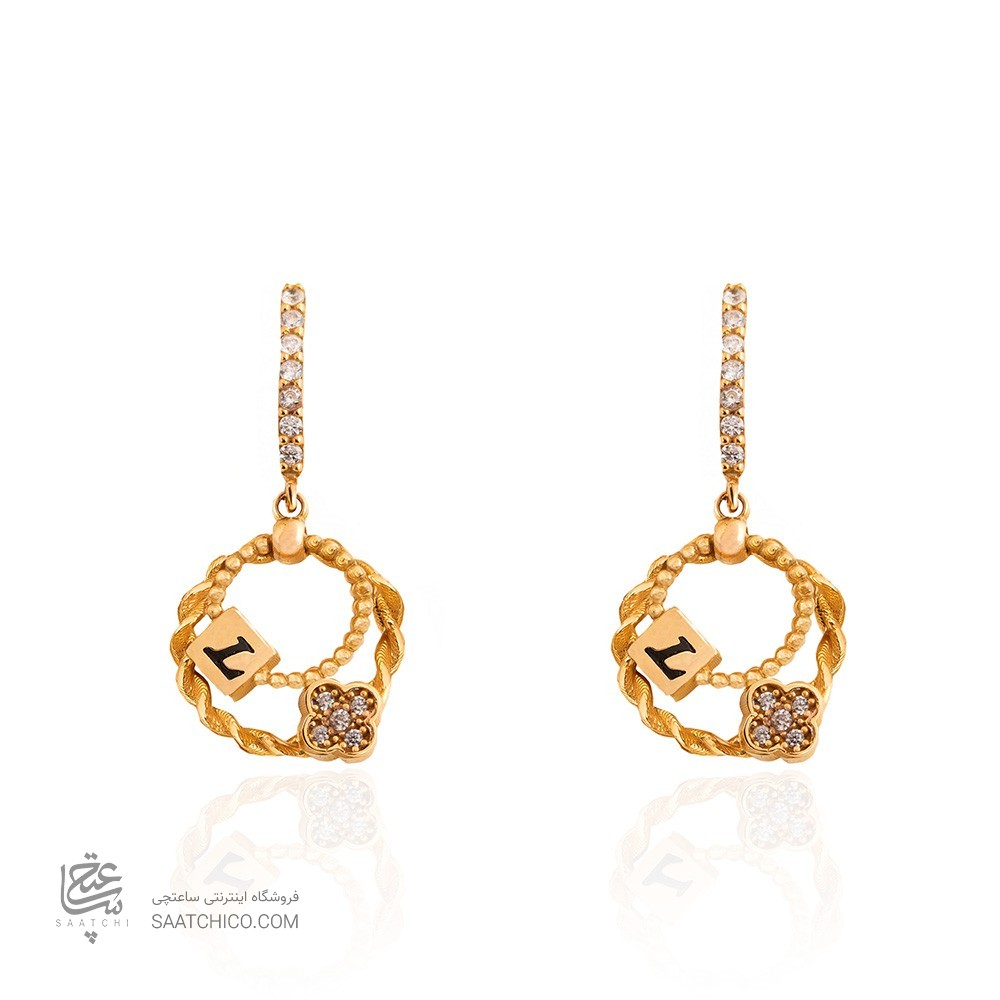 گوشواره طلا زنانه طرح LV کد CE388