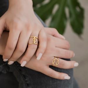 انگشتر طلا طرح هندسی کد CR302
