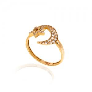 انگشتر طلا با ماه و ستاره نگیندار کد CR313