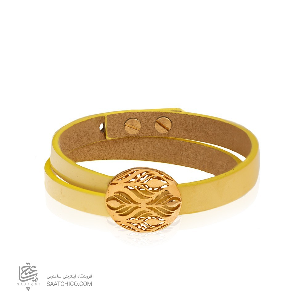 دستبند چرم و طلا طرح هندسی کد XB821