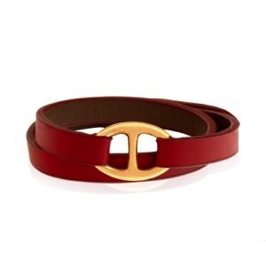 دستبند چرم و طلا طرح هرمس کد XB822