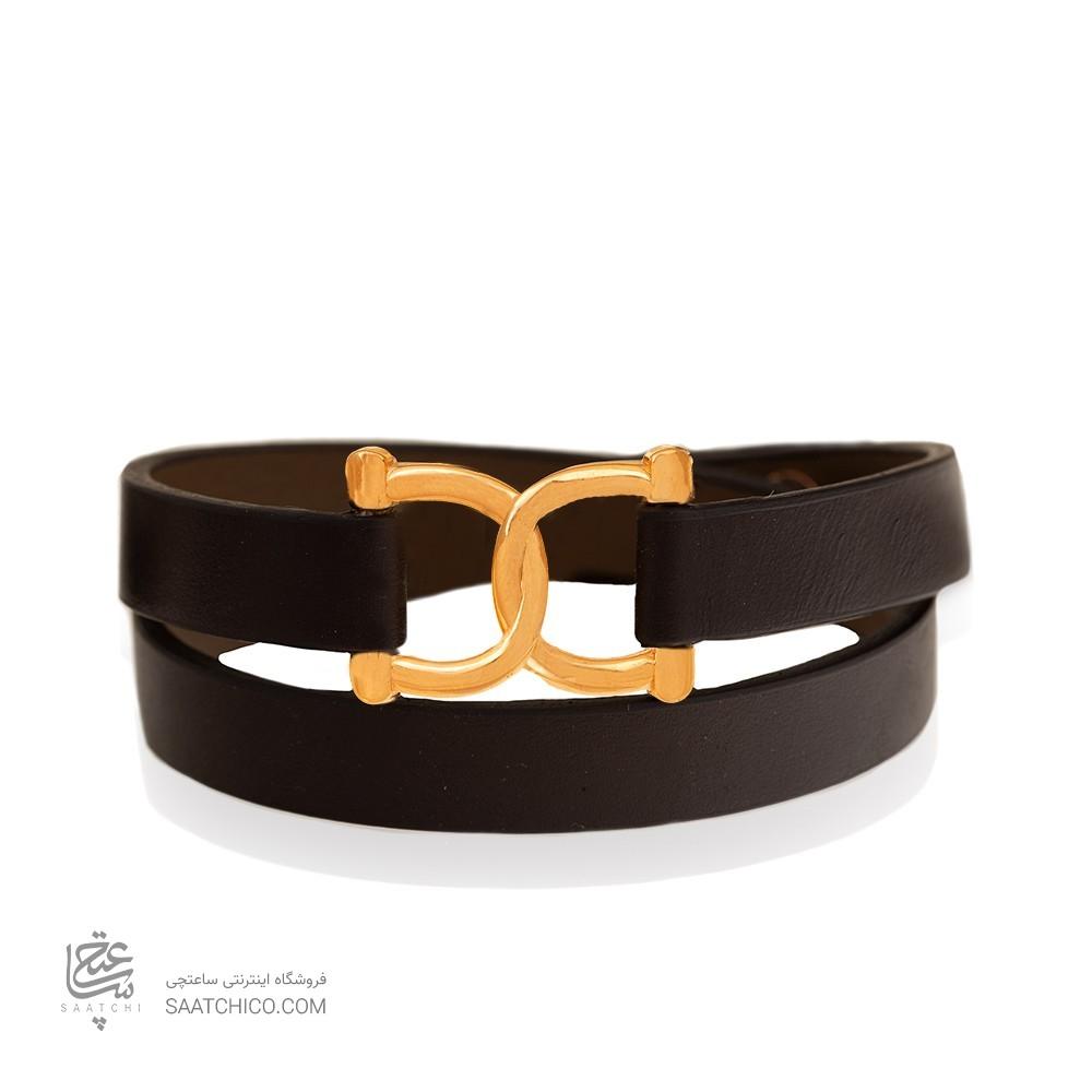 دستبند چرم و طلا طرح امگا کد XB826