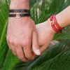 دستبند چرم و طلا مردانه طرح هرمس کد MB139