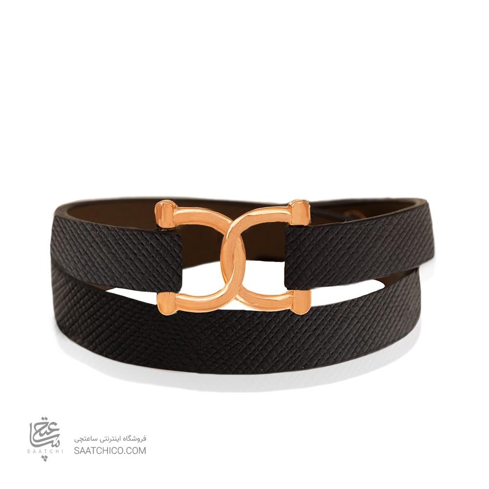 دستبند چرم و طلا مردانه طرح امگا کد MB140