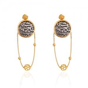 گوشواره طلا زنانه با سکه نقره کد XE264