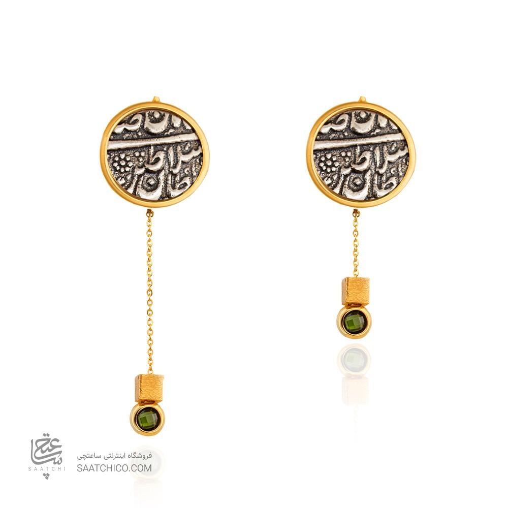 گوشواره طلا زنانه با سکه نقره کد XE265