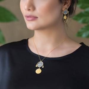 گوشواره طلا زنانه با سکه نقره کد XE266