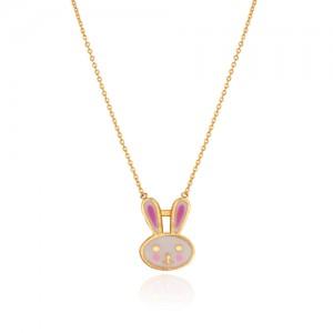 گردنبند طلا کودک طرح خرگوش کد kn722