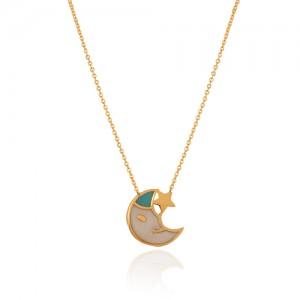 گردنبند طلا کودک طرح ماه و ستاره کد kn725