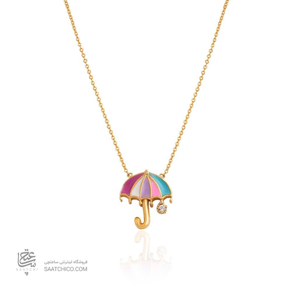 گردنبند طلا کودک طرح چتر با نگین کد kn731
