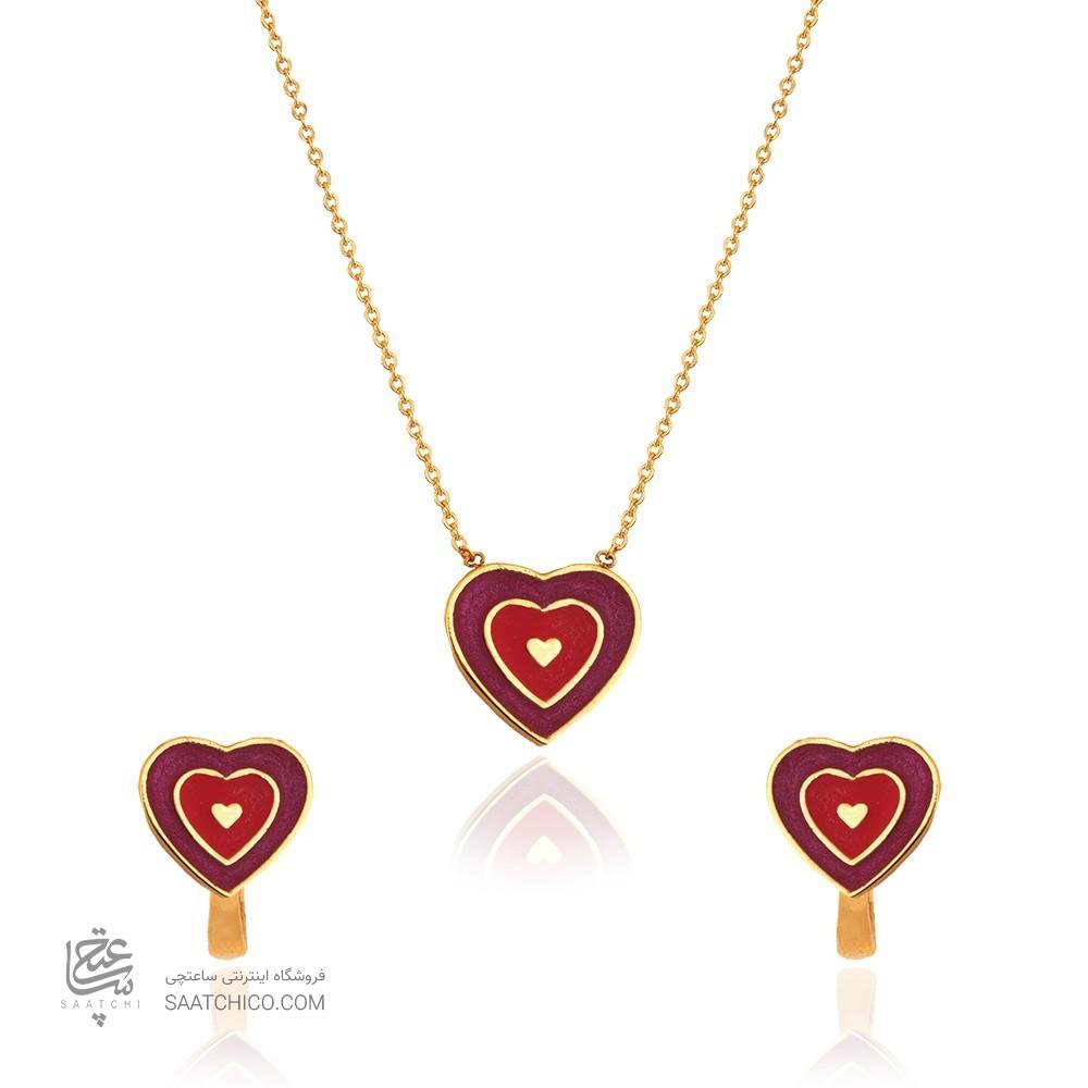 نیم ست طلا کودک طرح قلب کد KS106