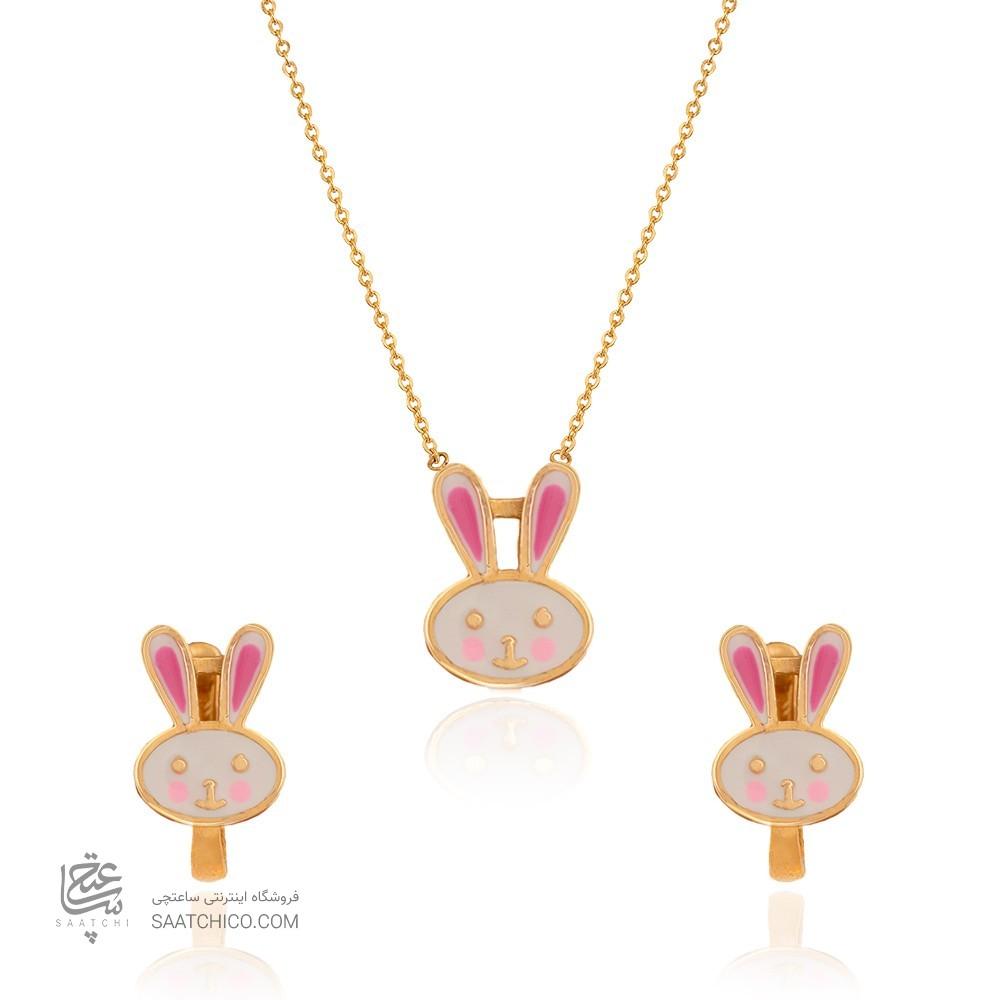 نیم ست طلا کودک طرح خرگوش کد KS107