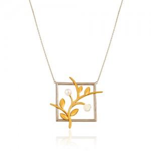 گردنبند طلا طرح شاخه با گل و مروارید کد XN111