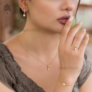 دستبند طلا زنانه طرح قفل تیفانی کد CB415