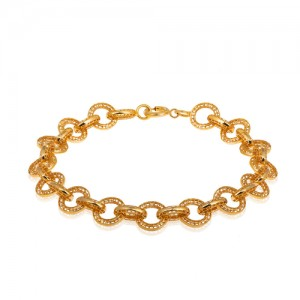 دستبند طلا زنانه طرح دایره فیوژن کد CB414