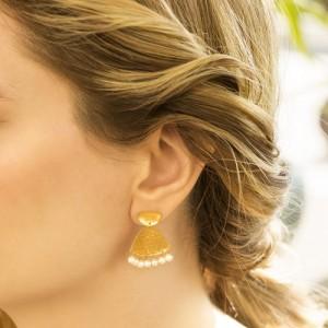 گوشواره  طلا زنانه طرح چکشی کد XE214
