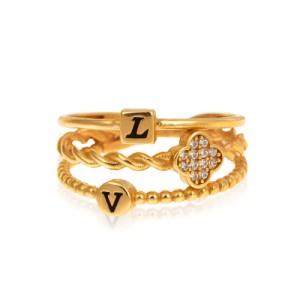 انگشتر طلا زنانه طرح LV با کد CR474