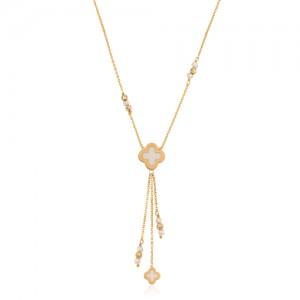 گردنبند طلا زنانه مینا کاری با مروارید کد XN403
