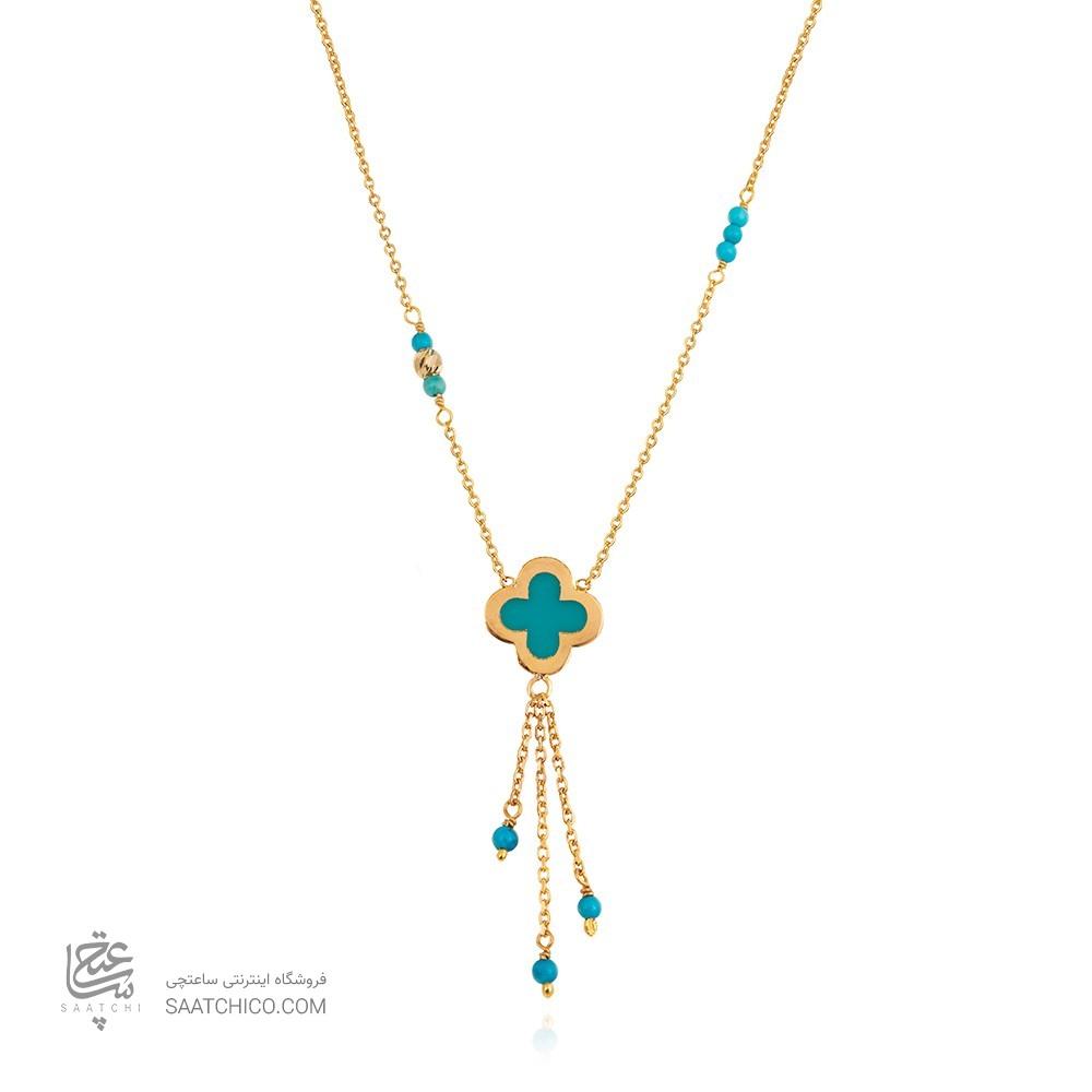 گردنبند طلا زنانه مینا کاری با فیروزه کد XN402