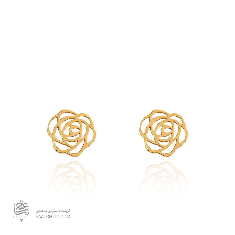 گوشواره طلا طرح گل شنل کد LE639