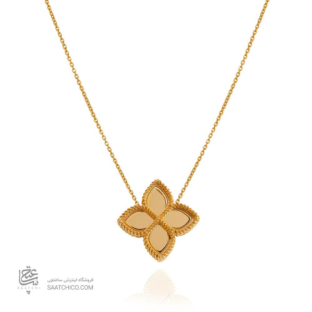 گردنبند طلا گل چهاربرگ کد cn441