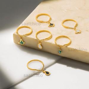 انگشتر طلا با آویز بته جقه کد CR487