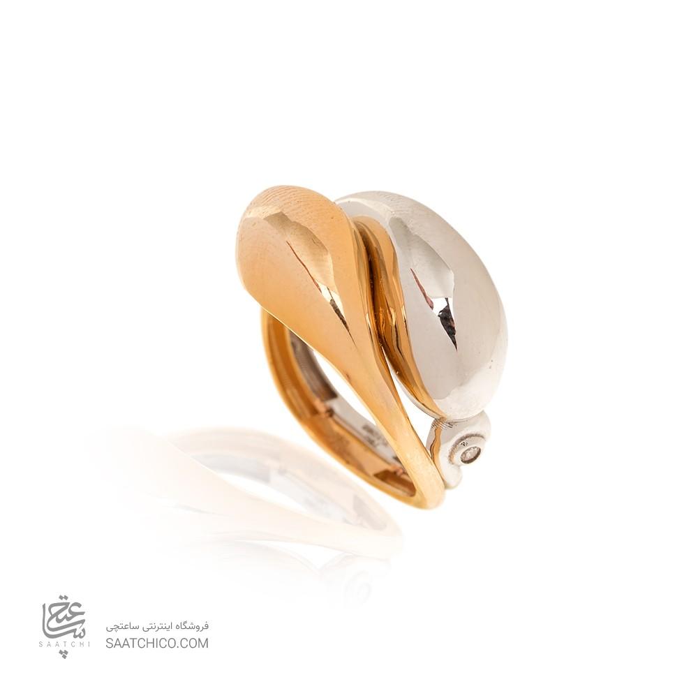 انگشتر طلا زنانه دو رنگ کد CR492