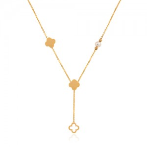 گردنبند طلا زنانه طرح ونکلیف با مروارید کد XN407
