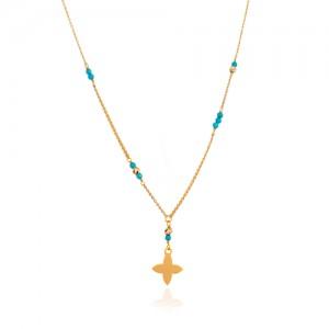 گردنبند طلا زنانه طرح لویی ویتون با فیروزه کد XN408