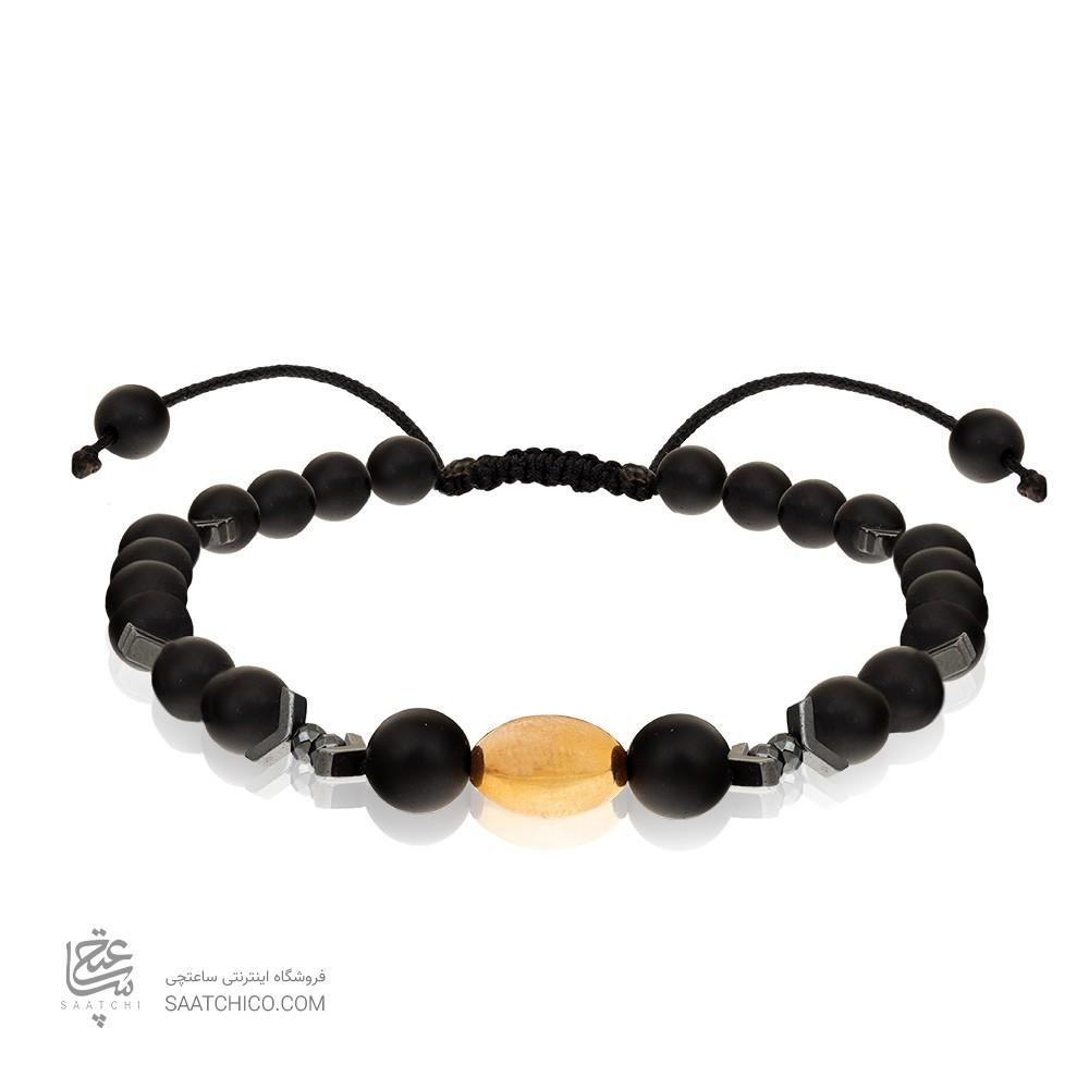 دستبند طلا مردانه با سنگ اونیکس کد MB141