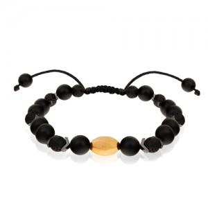 دستبند طلا مردانه با سنگ اونیکس کد MB142