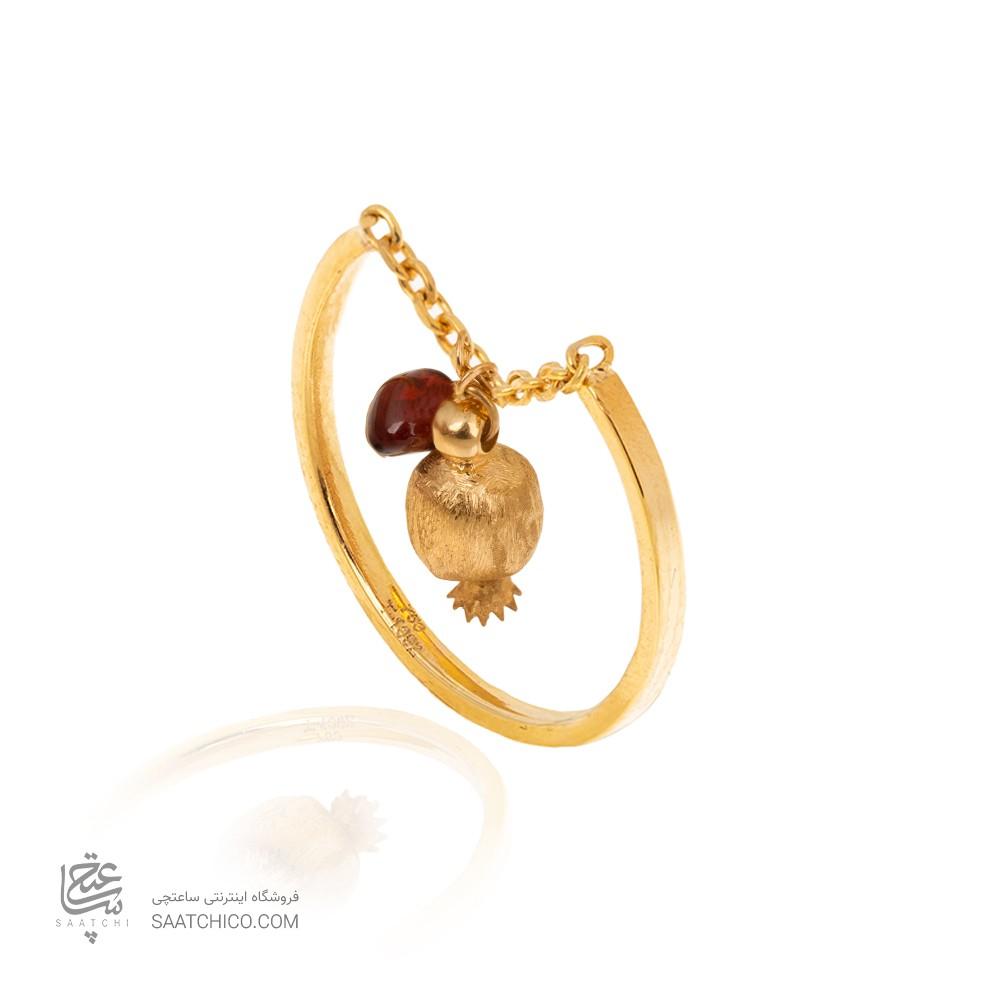 انگشتر طلا زنانه با اویز انار کالکشن یلدا کد CR493