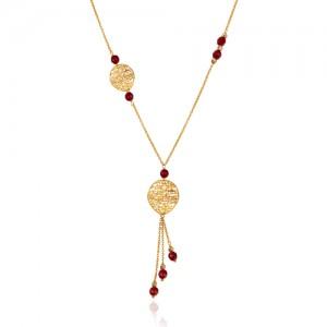 گردنبند طلا زنانه طرح فیوژن و سنگ جید کالکشن یلدا کد XN410