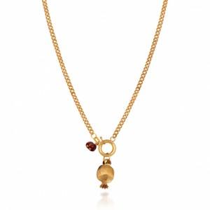 گردنبند طلا زنانه زنجیر کارتیه با اویز انار کالکشن یلدا کد XN412