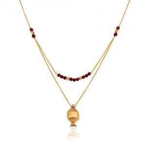 گردنبند طلا زنانه دو رج با اویز انار کالکشن یلدا کد XN409