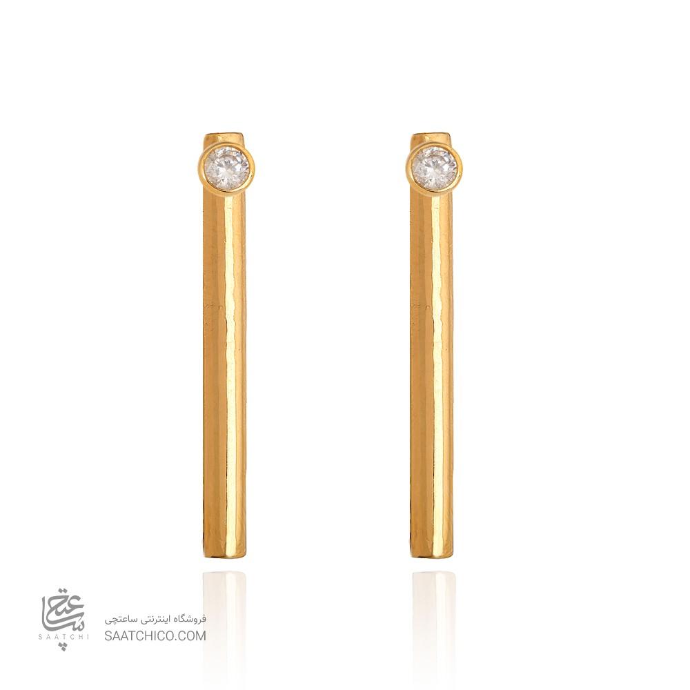 گوشواره دو طرفه طلا طرح استوانه ای کد CE397