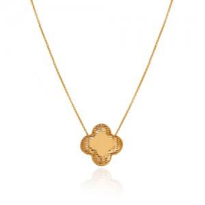 گردنبند طلا طرح گل هندسی کد CN446