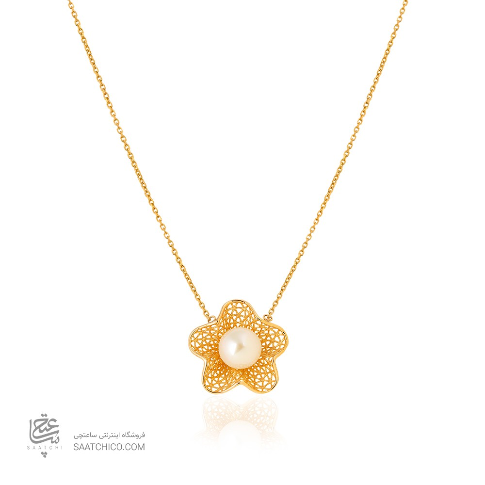 گردنبند طلا طرح گل فیوژن کد XN413