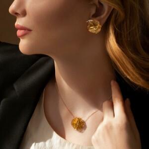 گوشواره طلا طرح گل فیوژن کد CE401