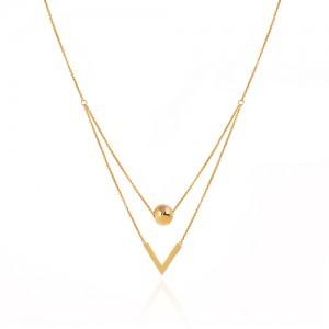 گردنبند طلا دو رج با گوی و پلاک طرح V (وی) کد CN450