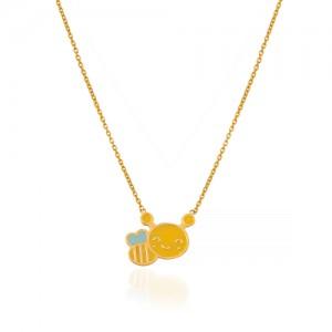 گردنبند طلا کودک طرح زنبور عسل کد KN735