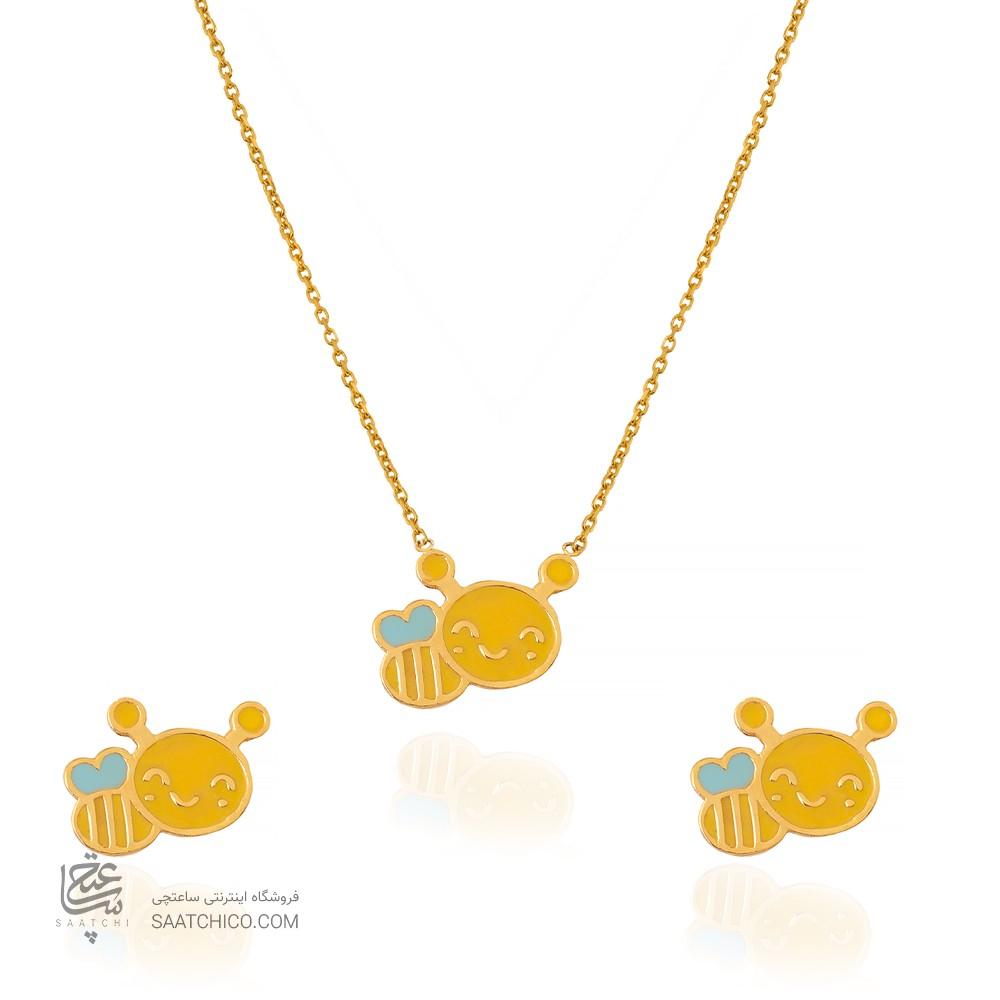 نیم ست طلا کودک طرح زنبور عسل کد KS111