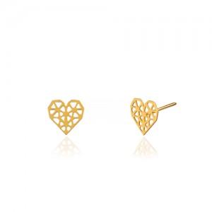 گوشواره طلا زنانه طرح قلب هندسی کد LE671