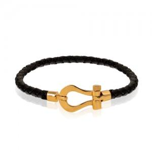 دستبند چرم با پلاک طلا طرح فرد کد XB850