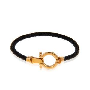دستبند چرم با پلاک طلا طرح امگا کد XB813