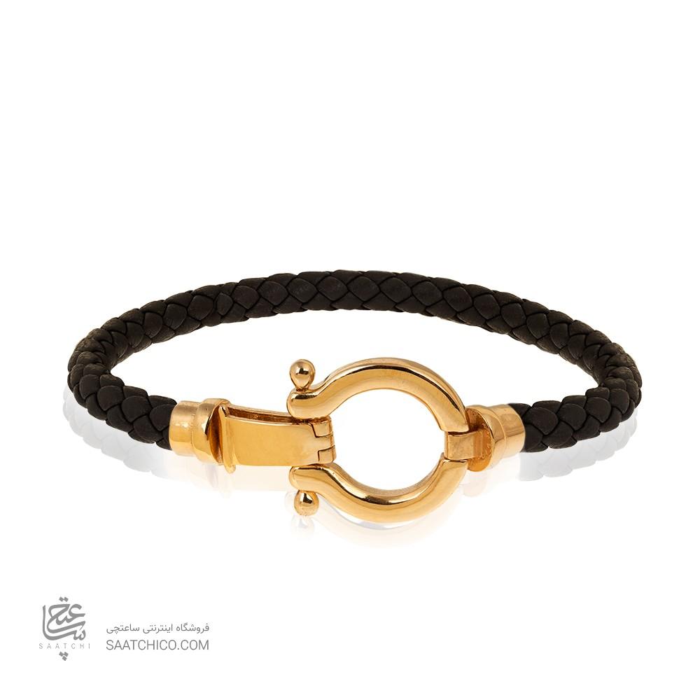 دستبند چرم مردانه با پلاک طلا طرح امگا کد MB143