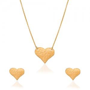 نیم ست طلا طرح قلب چکشی کد ls612