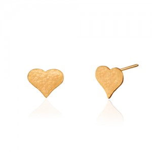 گوشواره میخی طلا طرح قلب چکشی کد LE670