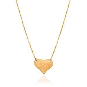 گردنبند طلا با پلاک قلب چکشی کد LN875